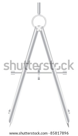 Drawing compass on white background. Vector illustration. - stock vector