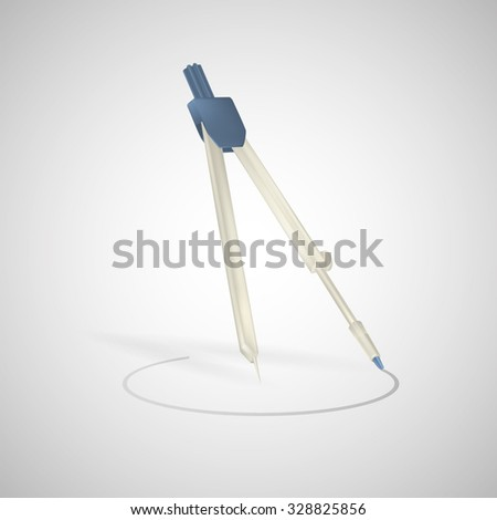 Drawing compass vector icon isolated on white background. Drawing compass. Realistic vector illustration. - stock vector