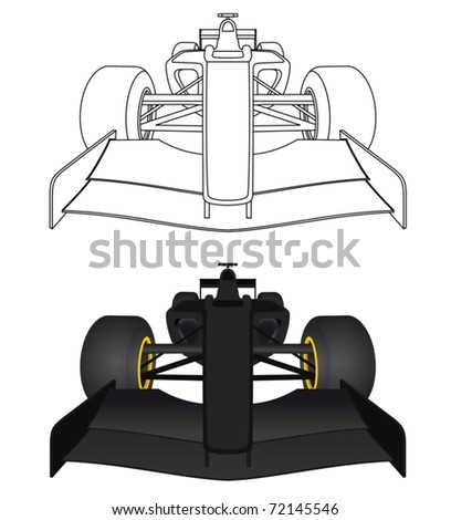 Drawing competition car in front view - stock vector
