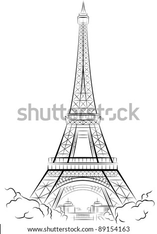 Drawing Eiffel Tower in Paris, France. Vector illustration