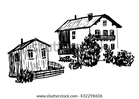 drawing elements set of isolates two wooden Alpine huts, the house and barn sketch hand-drawn vector illustration