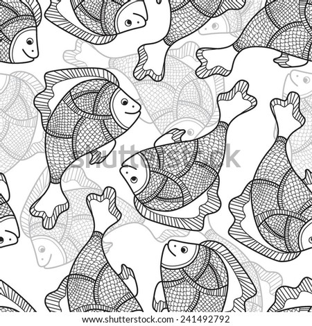Drawing fantastic fish. Seamless vector background for design pages, wrapping paper, etc.. - stock vector