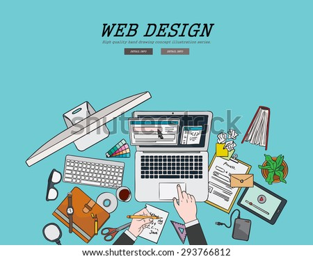 Drawing flat design illustration freelancer webdesign coding concept. Concepts for web banners and promotional materials.  - stock vector