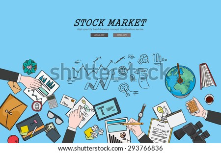 Drawing flat design illustration stock market concept. Concepts for web banners and promotional materials.  - stock vector