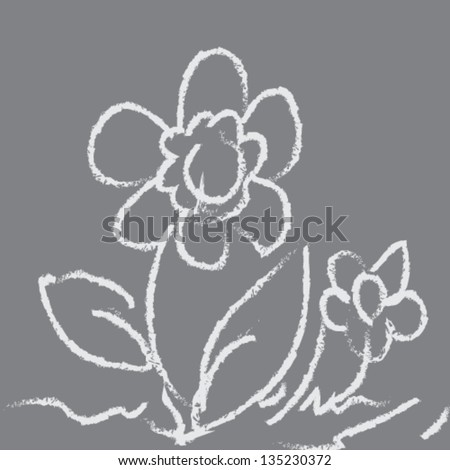 Drawing Flower On Blackboard illustration vector - stock vector