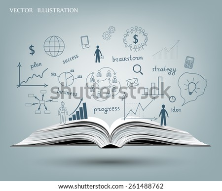 Drawing graphs and charts business strategy plan concept idea on an open book. Vector illustration modern template design - stock vector