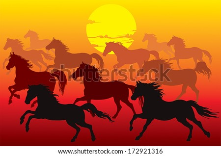 Drawing groups of horses race at sunset.