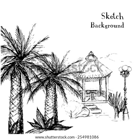 drawing hands - a tropical garden with palm trees,background vector illustration  - stock vector