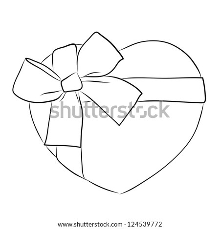 how to draw a heart with ribbon around it