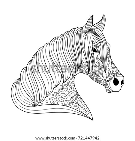 Drawing Horse Zentangle Style For Adult And Children Coloring Book Tattoo Shirt Design