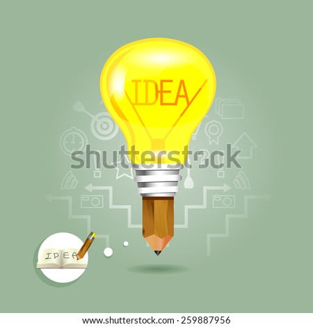Drawing idea pencil and light bulb - stock vector