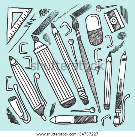 Drawing materials. Vector illustration.