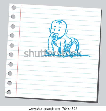 Drawing of a baby crawling - stock vector