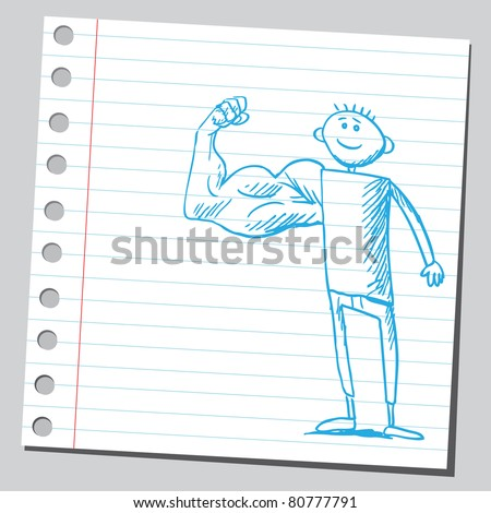 Drawing of a bizarre man with strong arm