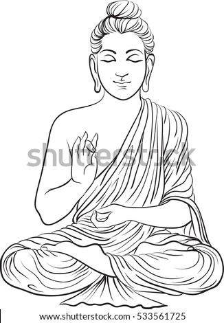 Drawing of a buddha statue art vector illustration of gautama buddhism religion