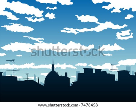 drawing of a cityscape and cloudy sky - stock vector