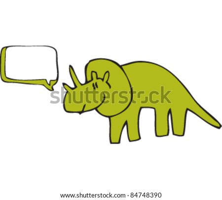 drawing of a dinosaur with speech bubble