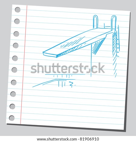 Drawing of a diving board
