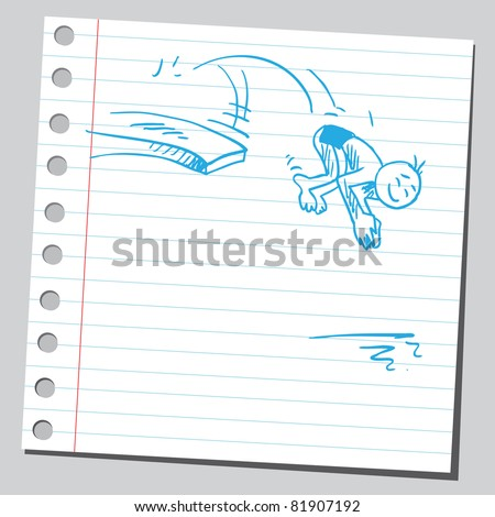 Drawing of a funny diver - stock vector