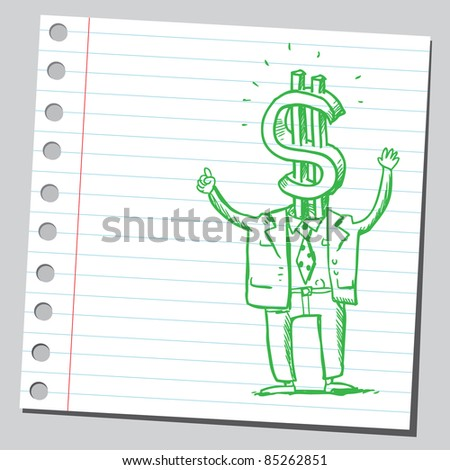 Drawing of a funny dollar man - stock vector