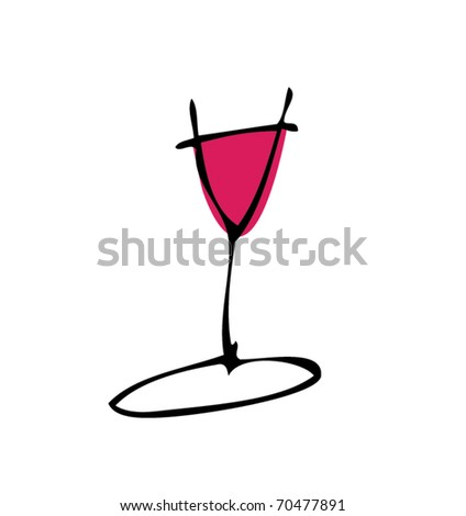 drawing of a glass of wine - stock vector