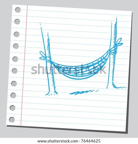 Drawing of a hammock - stock vector