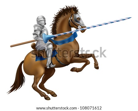 Drawing of a jousting knight in armour on horse back. - stock vector