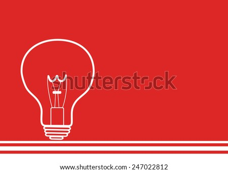 drawing of a light bulb on red background - stock vector