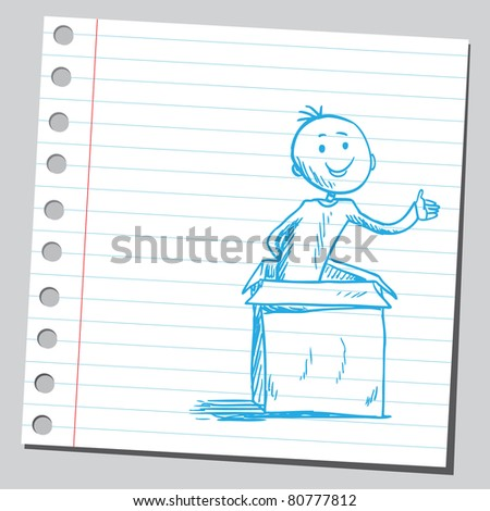 Drawing of a man in the box