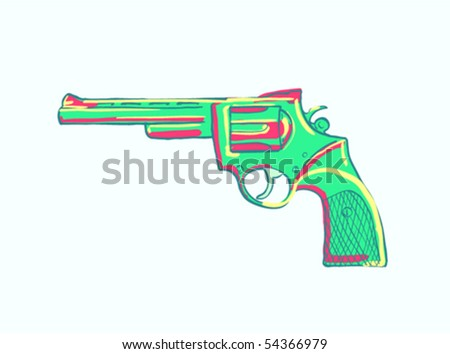 drawing of a pistol with bright spots - stock vector