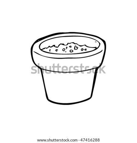 drawing of a pot of earth - stock vector