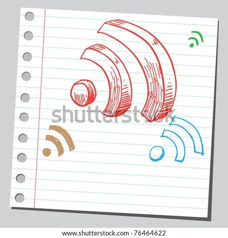 "Drawing of a ""radio signals"" signs"