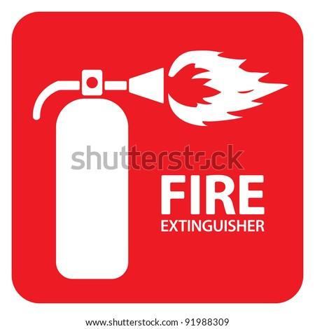 Drawing of a red fire extinguisher on the floor - stock vector
