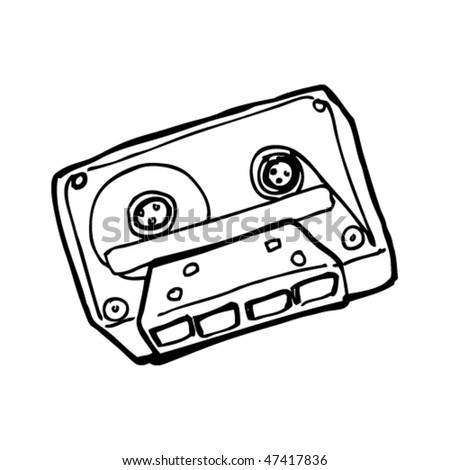 drawing of a retro cassette tape - stock vector