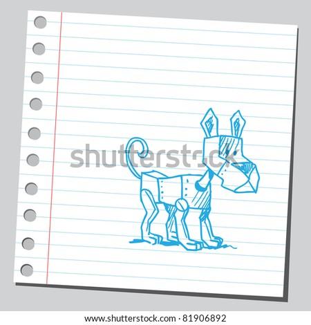 Robotic Dog Drawing Drawing of a Robot Dog Stock