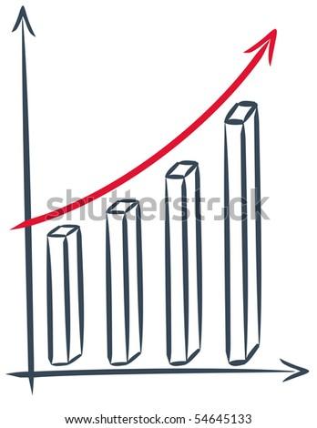 drawing of a sales increase - vector chart - stock vector