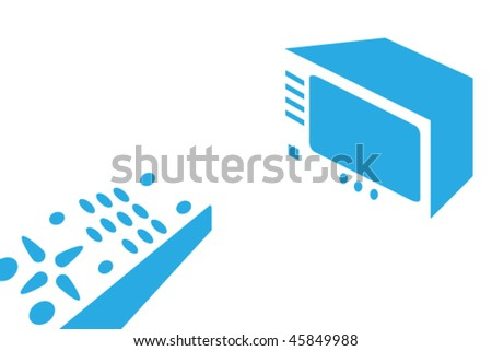 drawing of a tv and remote control - stock vector