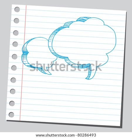 """Drawing of a two empty """"speech bubbles"""" - stock vector"""