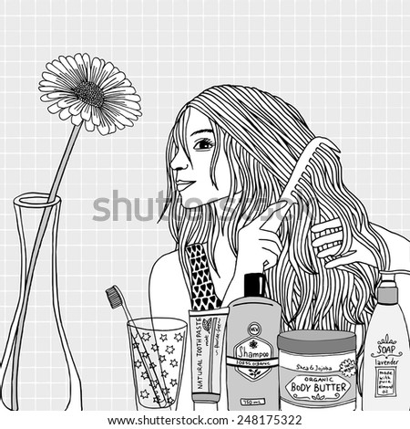 Drawing of a woman combing her hair - stock vector