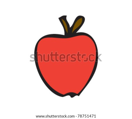 drawing of an apple - stock vector