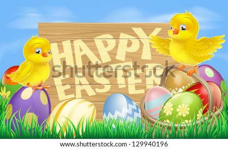 Drawing of an Easter sign reading Happy Easter surrounded by Easter eggs and yellow cartoon Easter chicks - stock vector