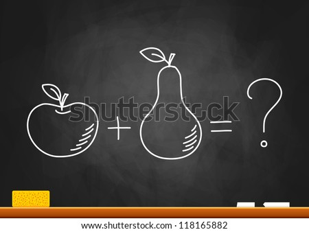 Drawing of apple and pear on blackboard - stock vector