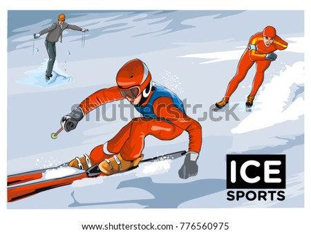 Drawing of attractive ice sports skating beautiful illustration