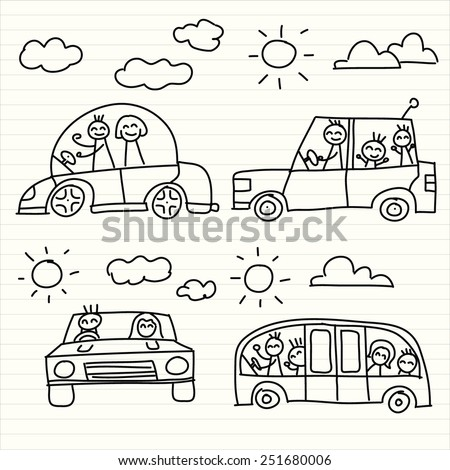 Drawing of car with family - stock vector