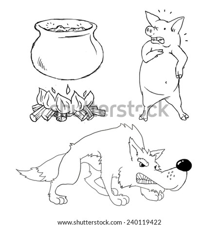 Drawing of cartoon objects - wolf, pig and big pot - stock vector
