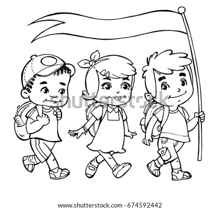 Drawing Children Walking Stock Vector (Royalty Free) 674592442 ...