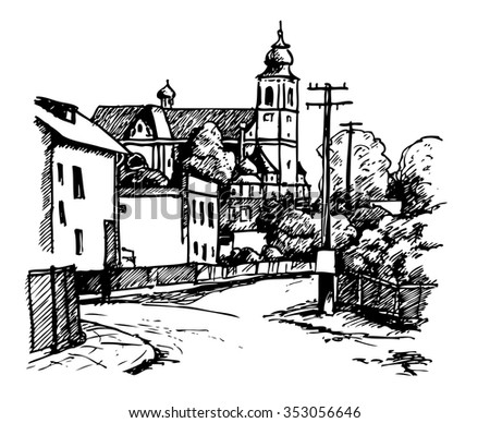 Drawing of Church in the Village