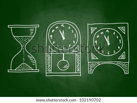 Drawing of clocks on blackboard - stock vector