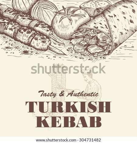 Drawing of doner kebab and shish kebabs with chef slicing meat for kebab as a background - stock vector