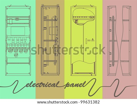 drawing of electrical panel at a assembly line factory. controls and switches. - stock vector